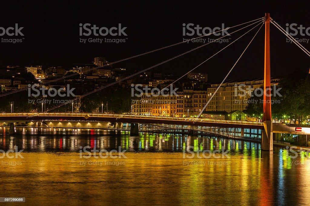 Cityscape of Lyon, France at night royalty-free stock photo