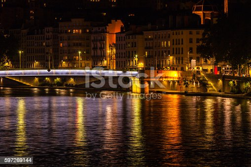 Cityscape Of Lyon France At Night Stock Photo & More Pictures of Ancient
