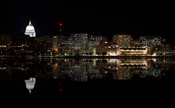 Cityscape of Madison at Night stock photo