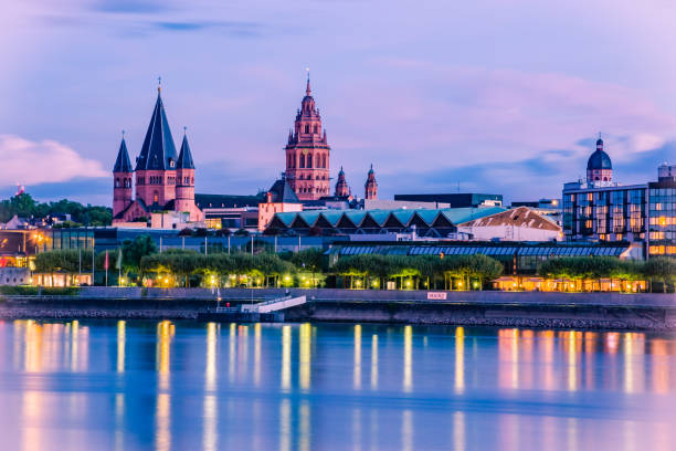 cityscape of Mainz in the blue hour with Mainzer Dom stock photo