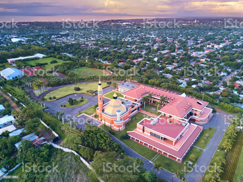 Cityscape of Managua city stock photo