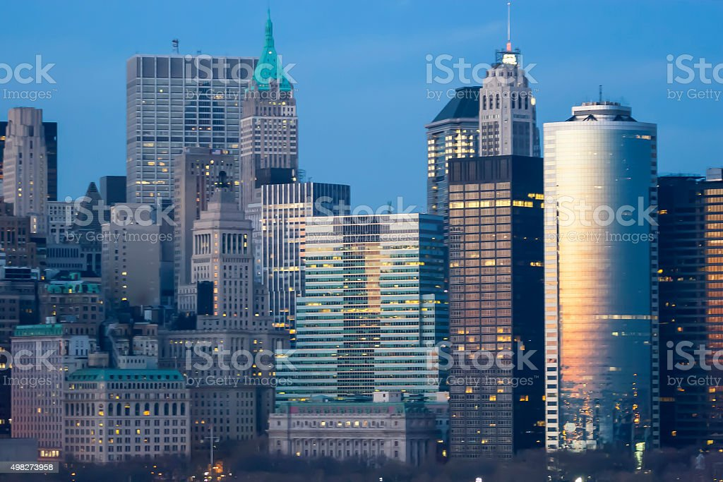 Cityscape of Manhattan Financial District stock photo