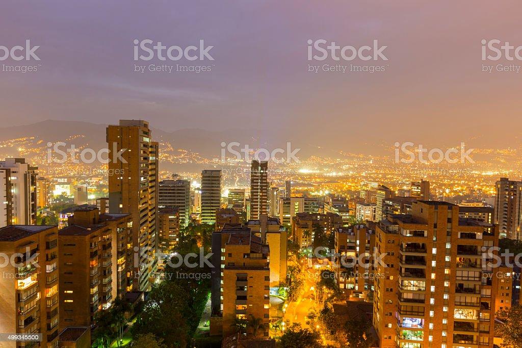 Cityscape of Medellin at night, Colombia stock photo