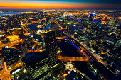 Cityscape of Melbourne at sunset, Australia