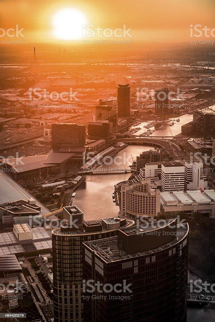 Cityscape of Melbourne at sunset, Australia stock photo
