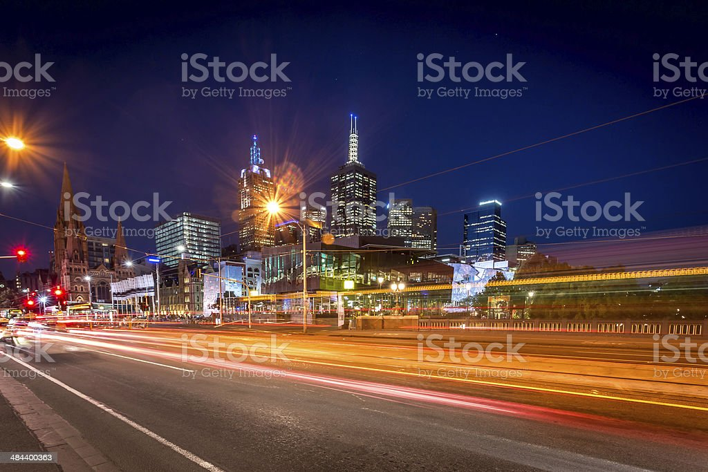 Cityscape of Melbourne at sunset royalty-free stock photo