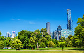 Cityscape of Melbourne from Kings Domain parklands in Australia