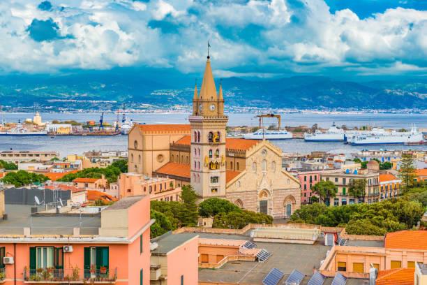 Cityscape of Messina, Sicily, Italy stock photo