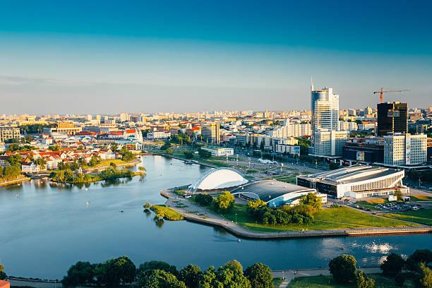 Cityscape of Minsk, Belarus. Summer season, sunset time stock photo