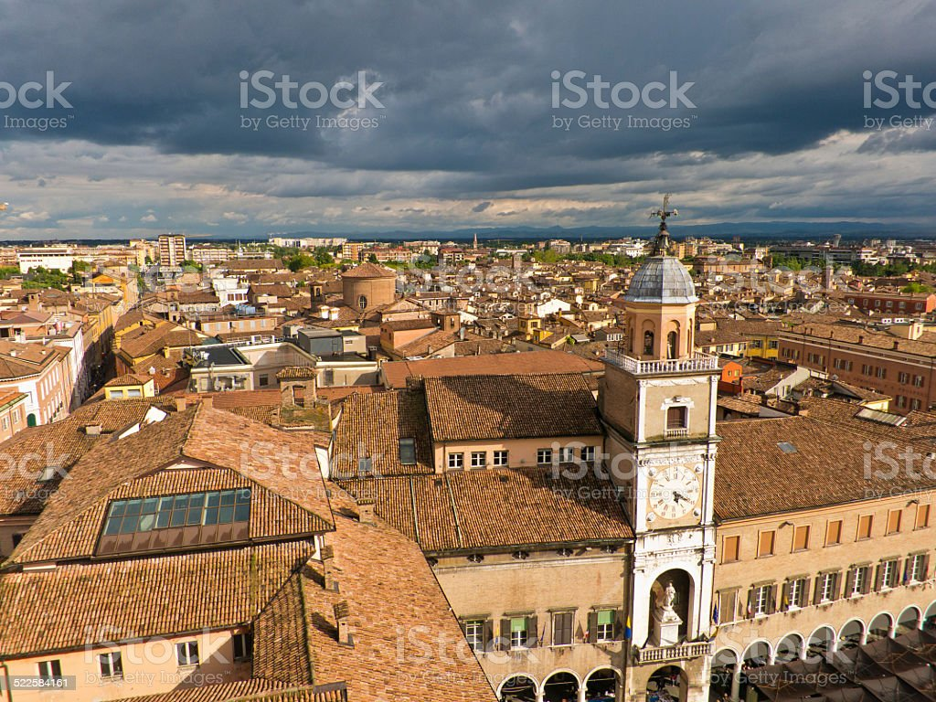 Cityscape of Modena, medieval town situated in Emilia-Romagna stock photo