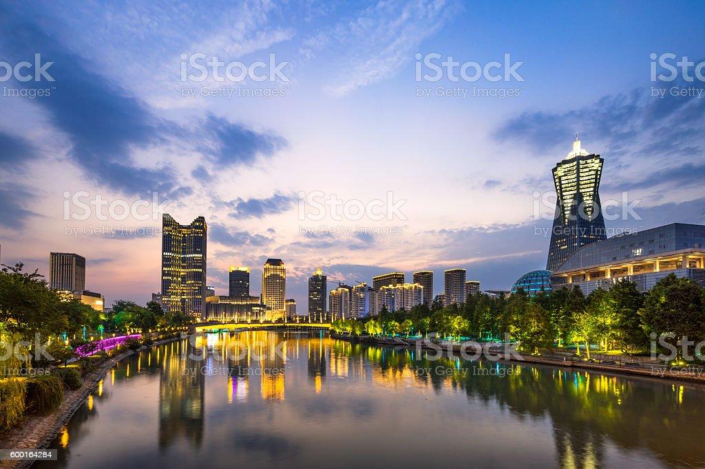 cityscape of modern city in hangzhou zhejiang stock photo