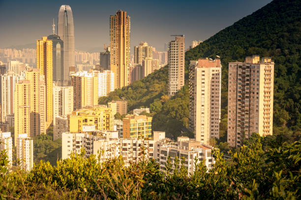 Cityscape of modern skyscraper in Hong Kong. stock photo