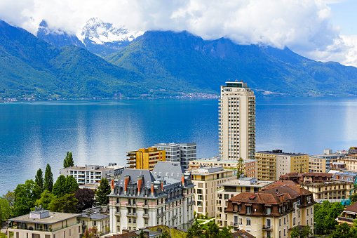 Cityscape of Montreux by the lake