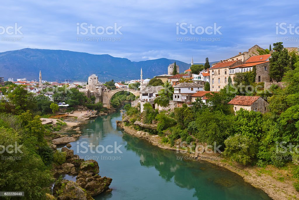 Cityscape of Mostar - Bosnia and Herzegovina stock photo
