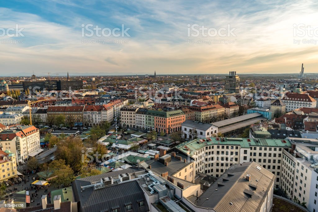 Cityscape of Munich with a view to the mountains stock photo