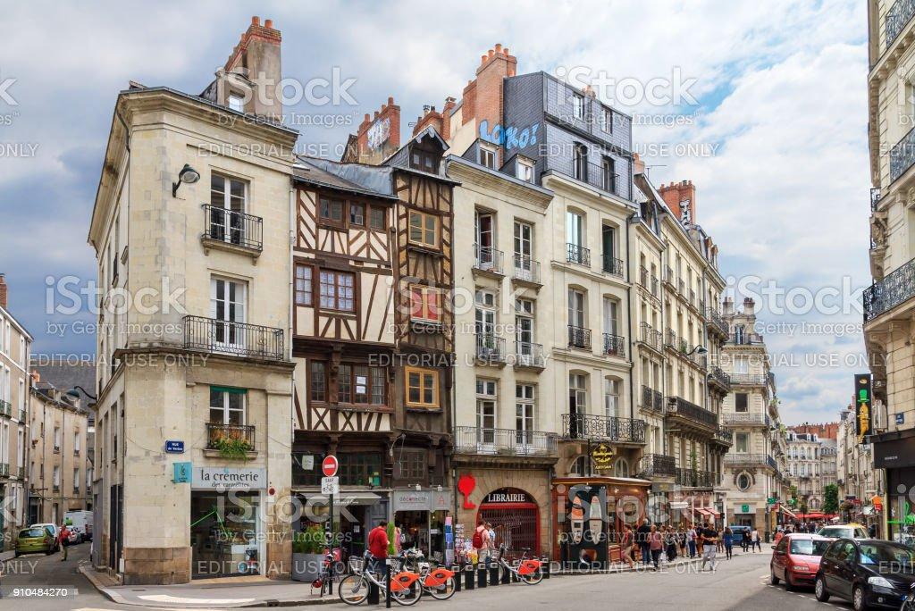 Cityscape of Nantes stock photo