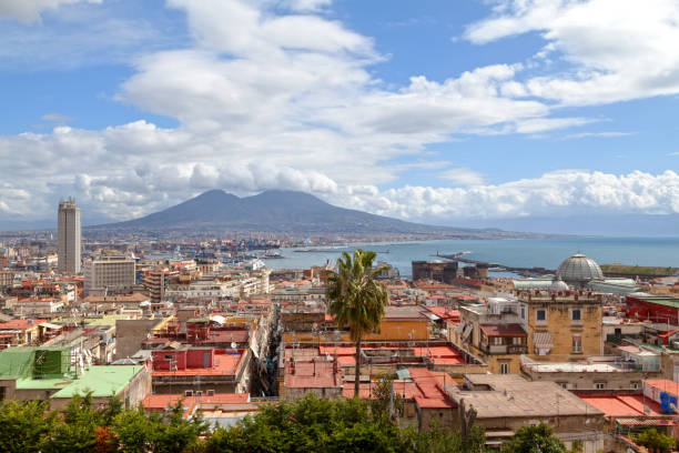 Cityscape of Naples Naples, Italy - March 19 2018: Aerial view of the Gallery Umberto I, the Castel Nuovo, the Hotel NH Napoli Ambassador, the mercato and the jetty, with behind, the Vesuvius. mercato stock pictures, royalty-free photos & images
