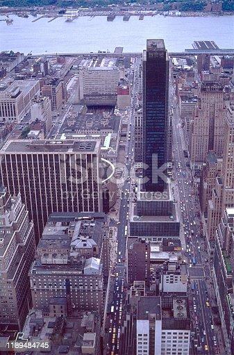 New York City, NY, USA, 1977. Stadtbild von New York City in Richtung Westen (Hudson River).