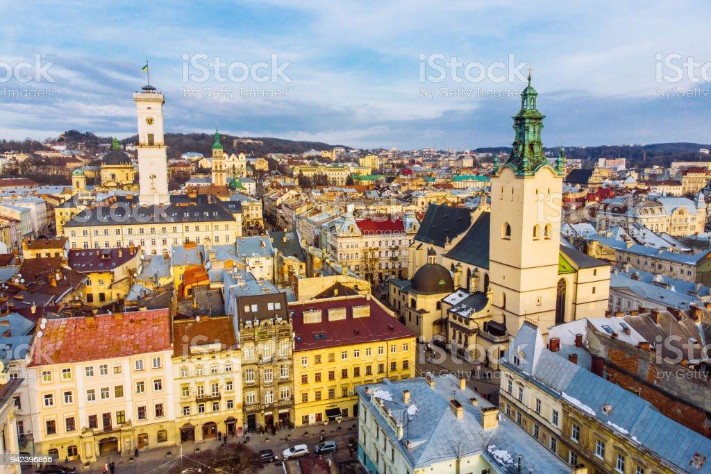cityscape of old european city. bird's eye view stock photo