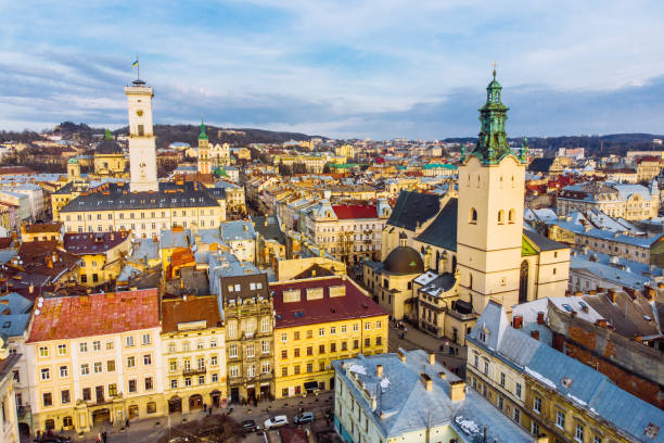 cityscape of old european city. bird's eye view stock photo