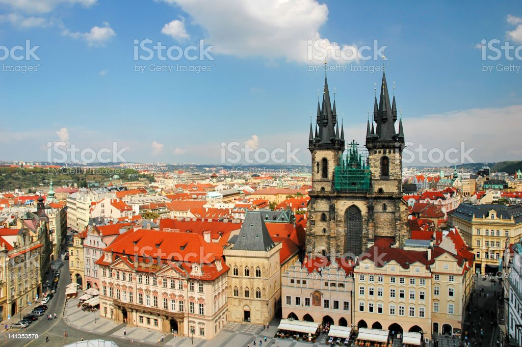 Cityscape of old Prague with distant view of the sea royalty-free stock photo