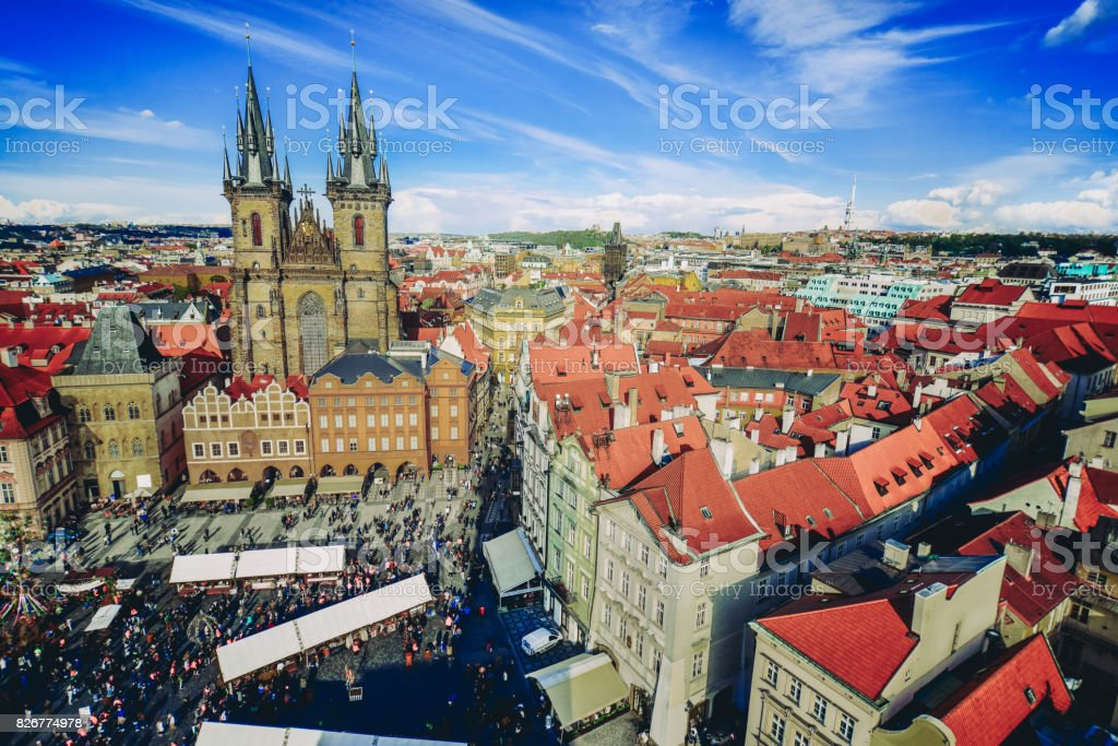 Cityscape of Old Town Square and Easter Marketplace in Prague stock photo