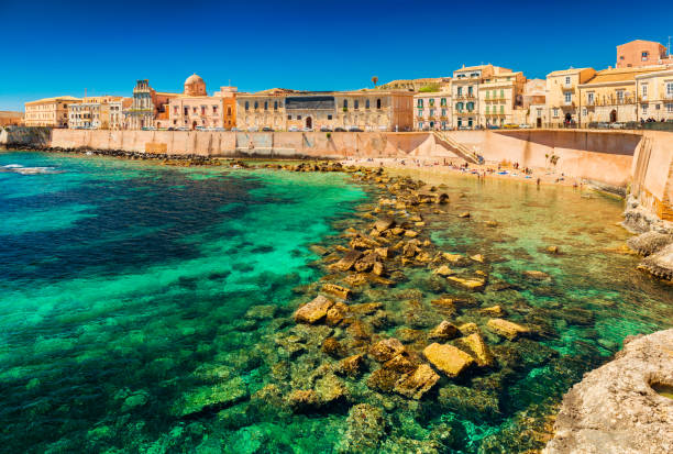Cityscape of Ortygia, the historical center of Syracuse, Sicily, Italy stock photo