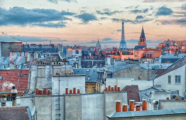 Cityscape of Paris at sunrise stock photo