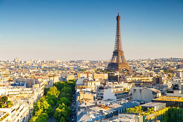miasta paryża przez zachód słońca - francja zdjęcia i obrazy z banku zdjęć