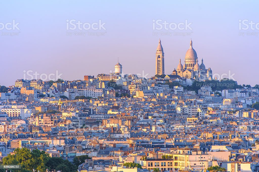 cityscape of paris by the sunset stock photo