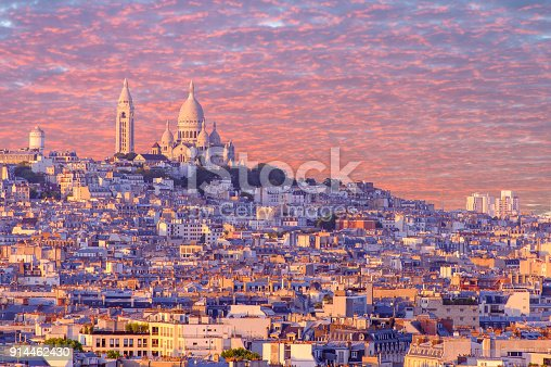 cityscape of paris by the sunset