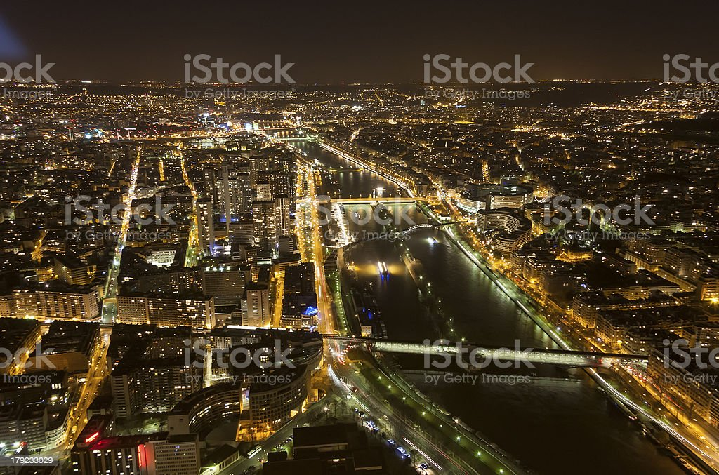 Cityscape of Paris, France at night royalty-free stock photo
