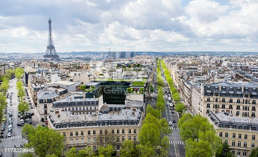Panorama of streets in Paris, France with it's beautiful streets and green trees