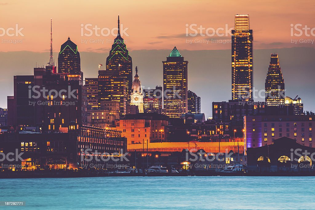 Cityscape of Philadelphia at Sunset, USA stock photo