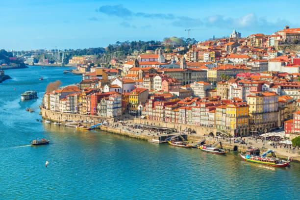 Cityscape of Porto (Oporto) old town, Portugal. Valley of the Douro River. Panorama of the famous Portuguese city. Popular tourist destination stock photo