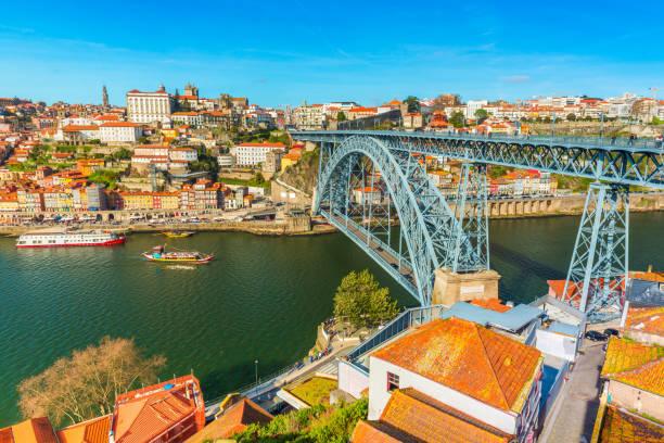 Cityscape of Porto (Oporto). View of the Dom Luis I Bridge (Ponte de Dom Luís I) and the River Douro. View from Vila Nova De Gaia, Portugal stock photo