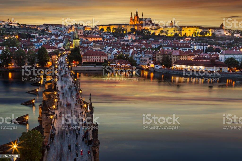 Cityscape of Prague after sunset. Europe, Czech republic stock photo