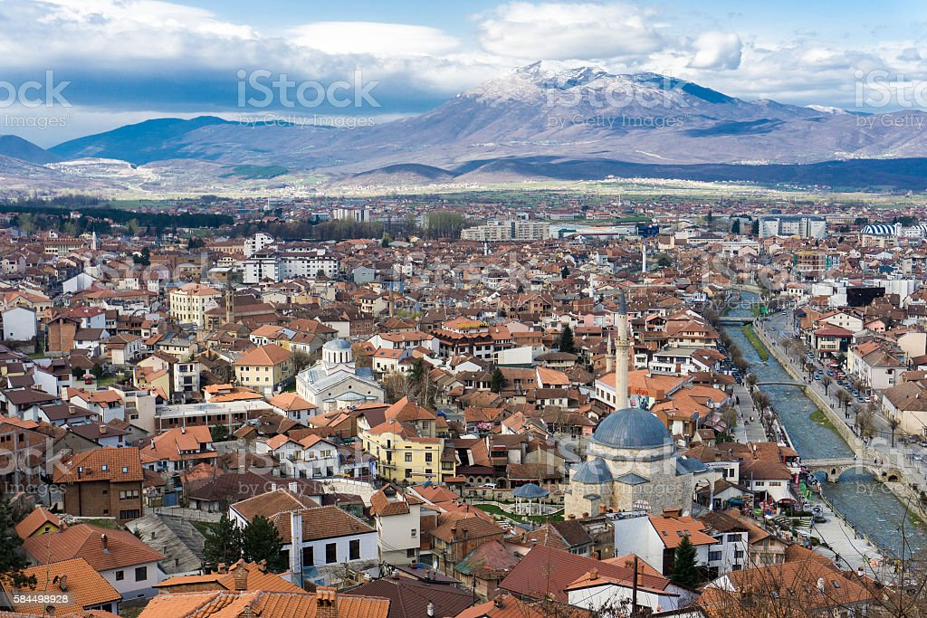 Cityscape of Prizren, Kosovo stock photo
