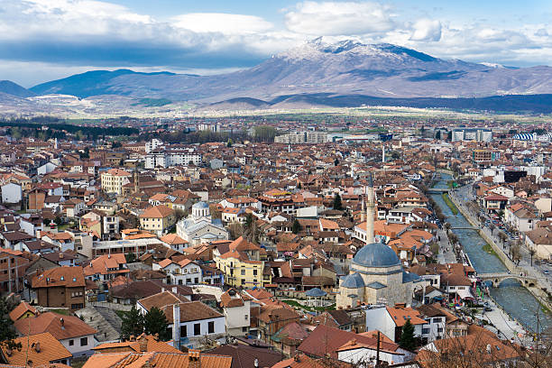 cityscape of prizren, kosovo - serbia stock photos and pictures
