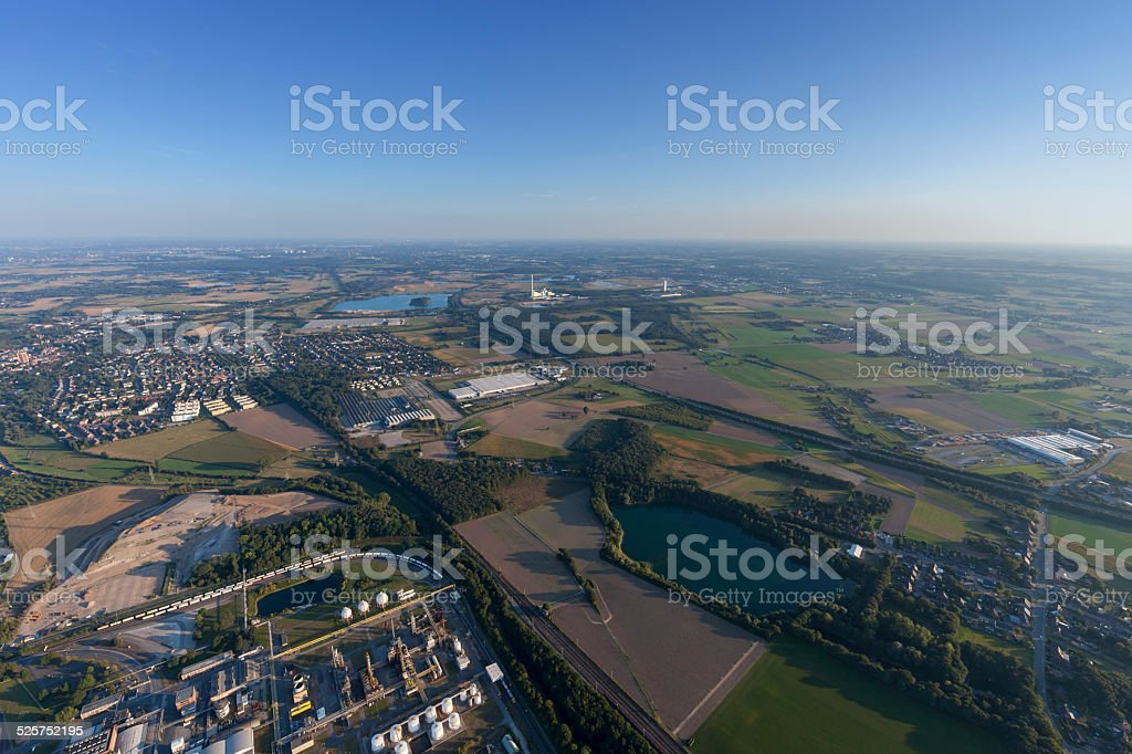 Cityscape of Rheinberg with Industrial Park Solvay stock photo