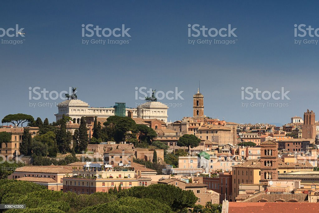 Cityscape of Rome as seen from the Aventine hill royalty-free stock photo