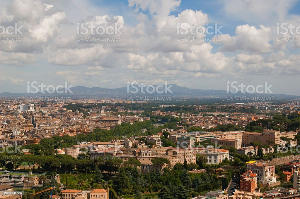 Cityscape of Rome with mountains range стоковое фото