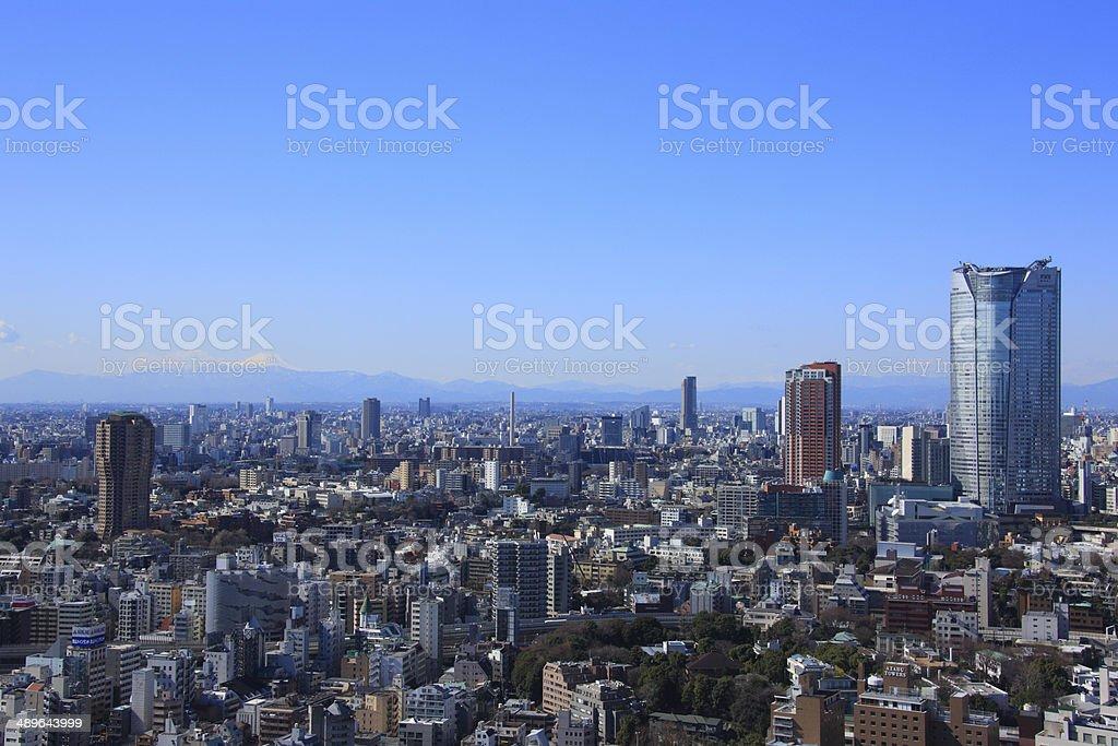 Cityscape of Roppongi and Mt. Fuji stock photo
