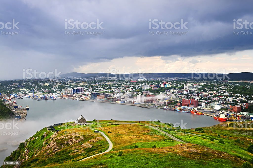 Cityscape of Saint John's from Signal Hill royalty-free stock photo