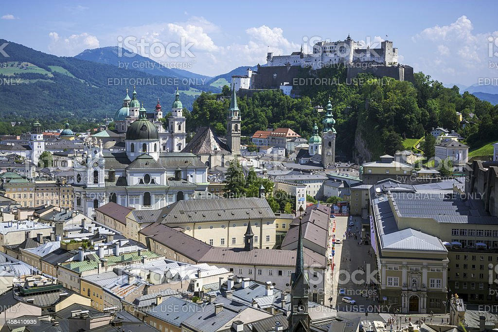 Cityscape of Salzburg, Austria with Hohensalzburg Castle in the distance stock photo