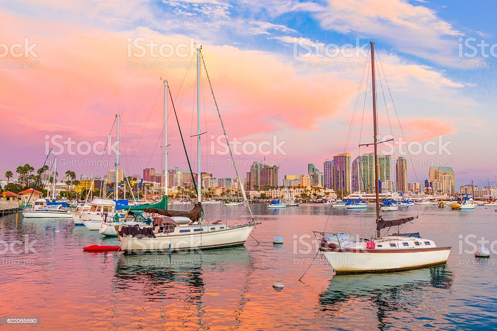 Cityscape of San Diego skyline and bay, California (P) stock photo