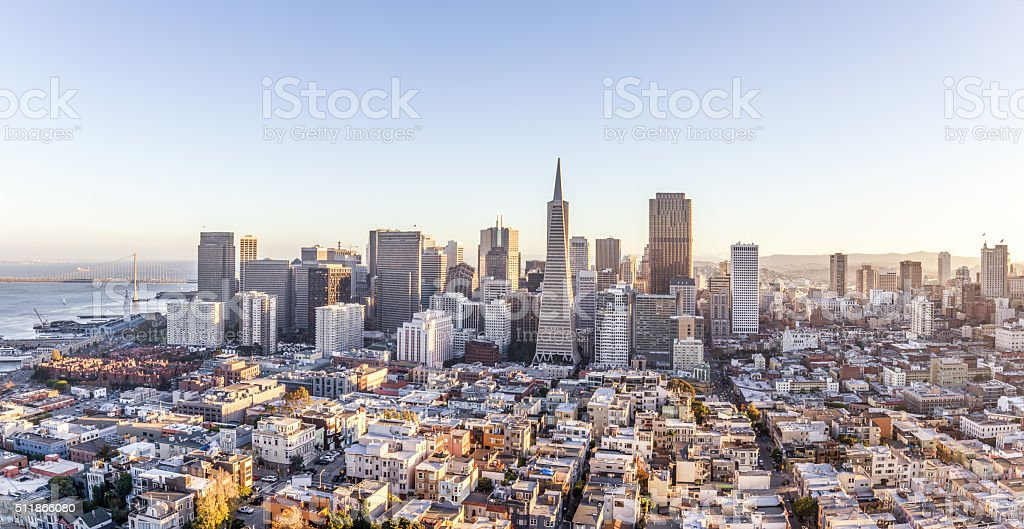 cityscape of San Francisco and skyline stock photo