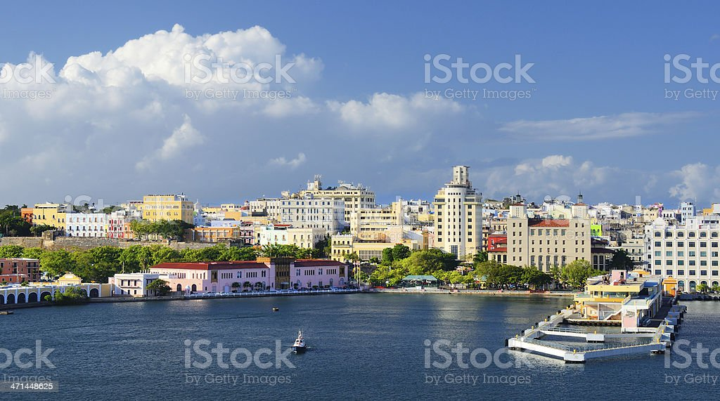 A cityscape of San Juan from the harbor stock photo