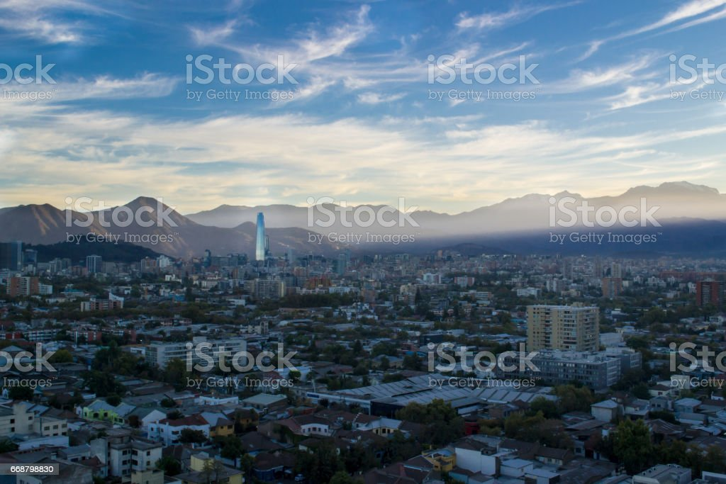 Cityscape of Santiago Chile stock photo