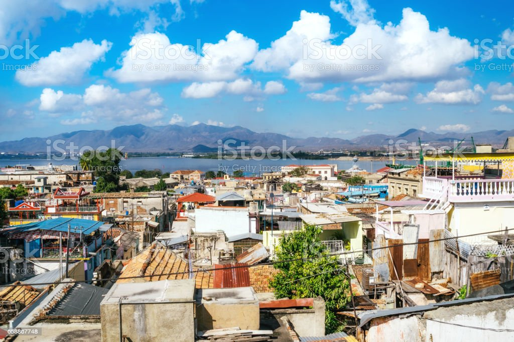 Cityscape of Santiago de Cuba, Cuba royalty-free stock photo